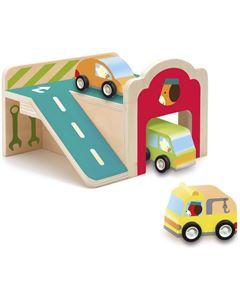 Obrazek Drewniany garaż - parking z autami DJECO