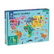 Obrazek Puzzle Mapa Świata + budynki i zwierzęta MUDPUPPY